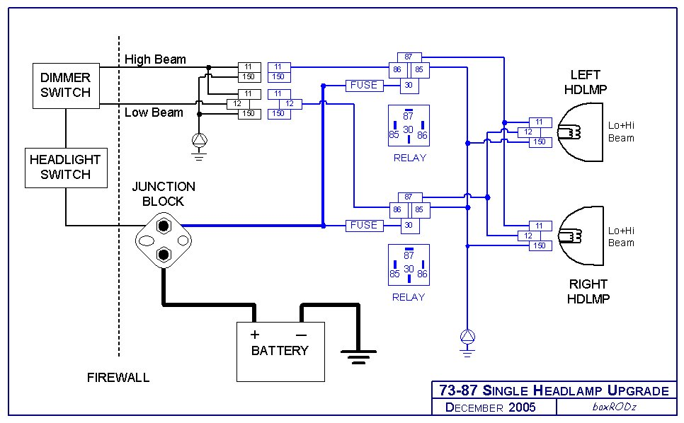 HeadLampRelay73 87Single headlight relay harness upgrade S10 Wiring Diagram for Gauges at panicattacktreatment.co