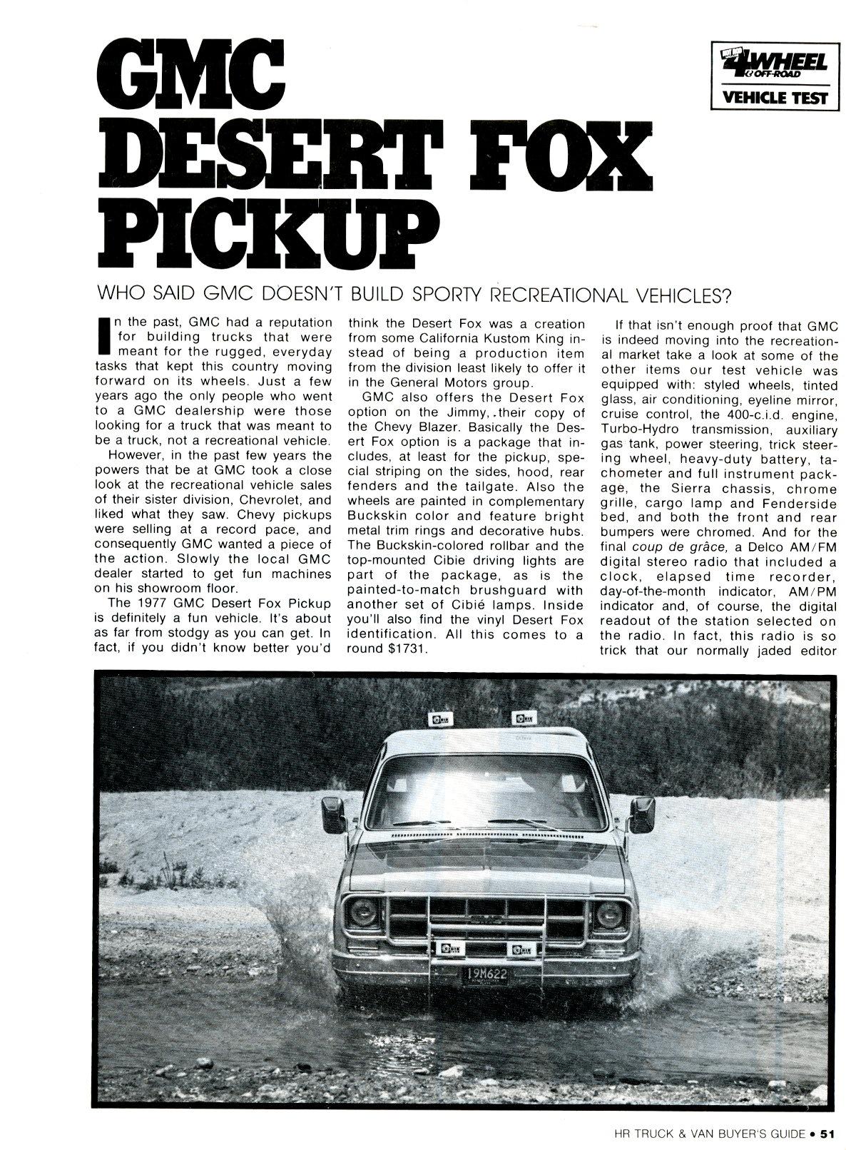 Gmc Special Edition Trucks >> Desert Fox